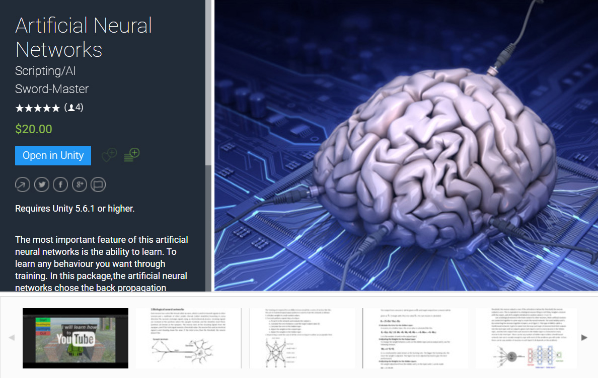 Artificial Neural Networks Unity Asset is on Unity Asset Store for Sell