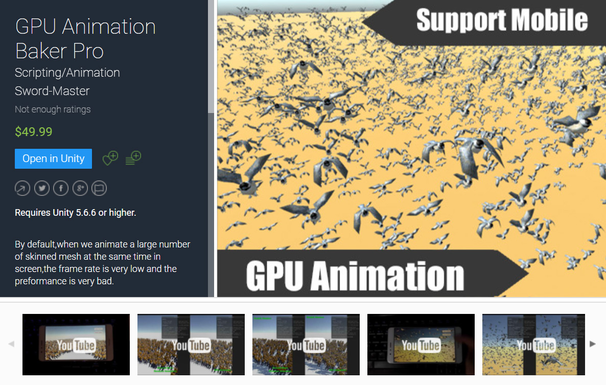 GPU Animation Baker Pro Unity Asset is on Unity Asset Store for Sell