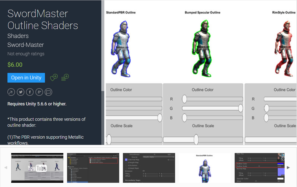 SwordMaster Outline Shader Unity Asset is on Unity Asset Store for Sell