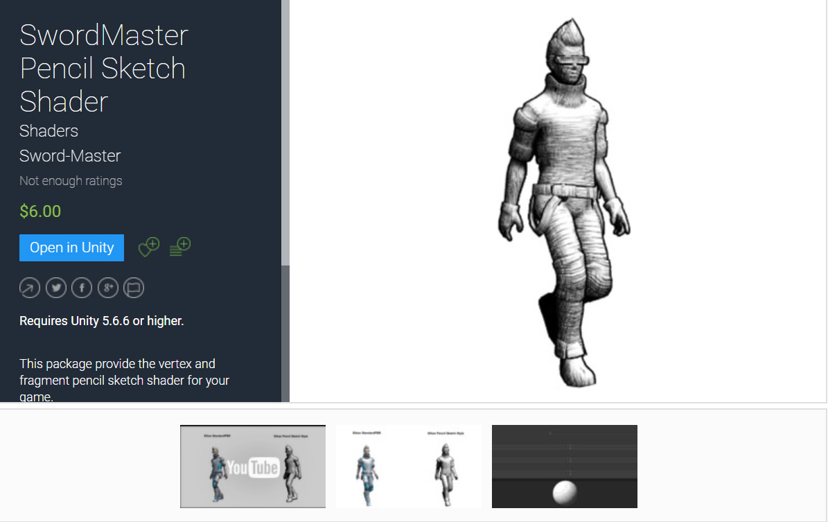 SwordMaster Pencil Sketch Shader Unity Asset is on Unity Asset Store for Sell