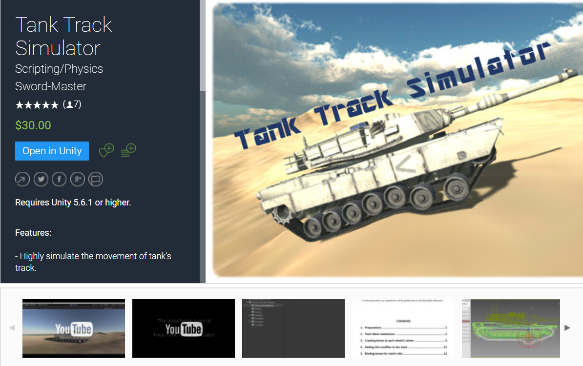 Tank Track Simulator Unity Asset is on Unity Asset Store for Sell